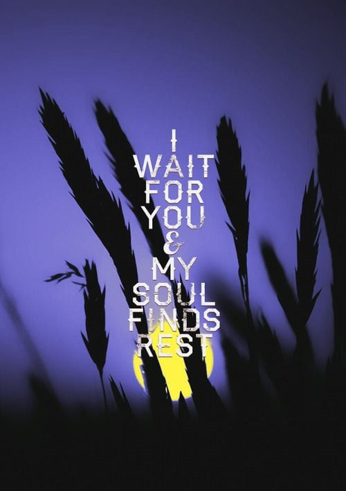If you are weary and your soul needs rest... wait.
