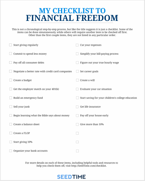 checklist to financial freedom