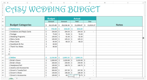 Download this wedding budget template or 9 others for FREE here