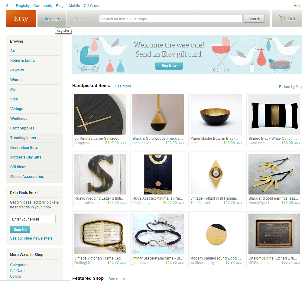 Etsy Main Page