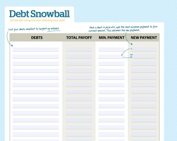 FREE debt snowball worksheet