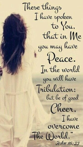 These things I have spoken to you, that in Me you may have peace. In the world you will[a] have tribulation; but be of good cheer, I have overcome the world.""
