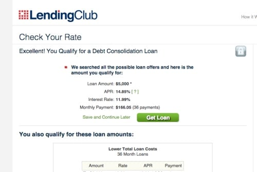 Lending club debt consolidation rates
