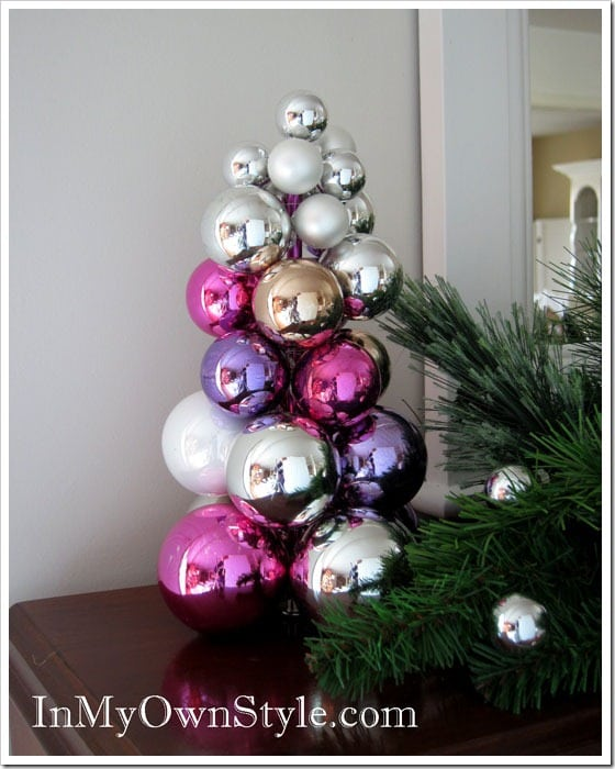 knitting needle ornament tree