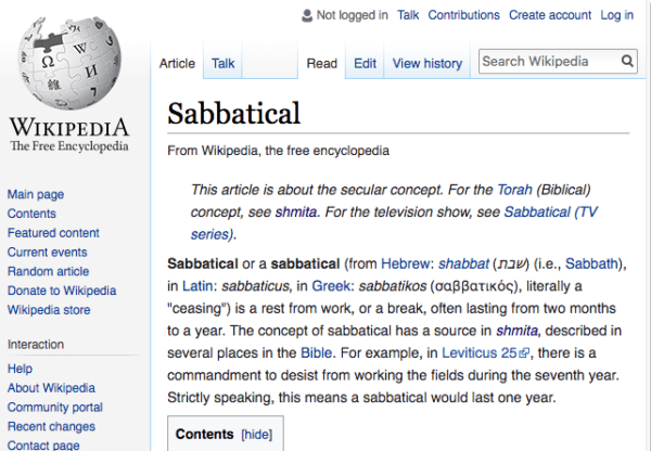 Sabbatical Definition from Wikipedia