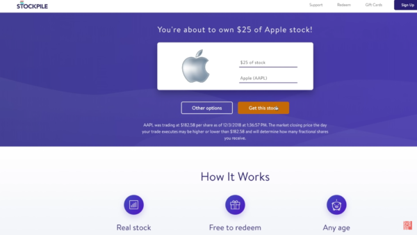 Compra de ações fracionárias da Apple Stock