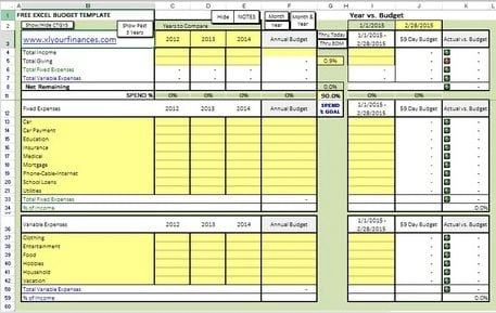 XLS your finances budget sheet