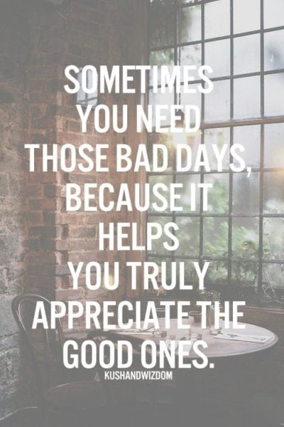"""Sometimes you need those bad days because it helps you truly appreciate the good ones."""