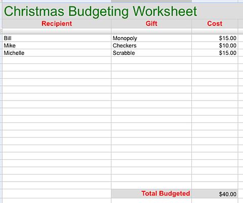 Christmas printable budgeting worksheet