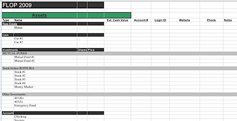 FLOP printable balance sheet