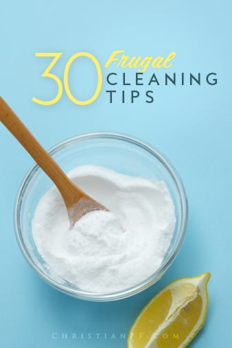 30 #frugal #house-cleaning-tips to help you clean all areas of your home without spending a lot.  Includes some #DIY cleaning ideas as well....Spring is the perfect time of the year to overhaul the whole house. After all, with the season comes newness... freshness, right?  I take this time to not only thoroughly deep clean my home, but also to declutter every nook and cranny.  When I declutter, I find that I seem to have more space and my house looks cleaner without all that clutter!  After I eliminate the chaos, I organize and then get my cleaning party on....