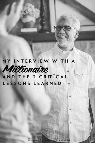 My interview with a millionaire and the crucial things I learned ...I believe that success in life is rarely a case of luck, but rather a matter of cause and effect. If you do A and B you will get C. In most cases if you just do what others have done to get a desired effect you will get the same. So, if you want to learn how to build a chair, you should go ask a chair-maker how he does it. If you want to learn how to become a millionaire, you should ask a millionaire how they did it....