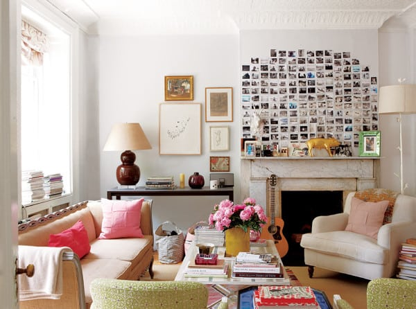 decorate with postcards